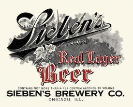 Vintage Booze Labels - Sieben's Real Lager Beer
