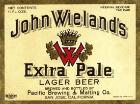 Vintage Booze Labels - John Wieland's Extra Pale Lager Beer