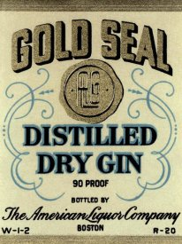 Vintage Booze Labels - Gold Seal Distiller Dry Gin