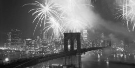Unknown - Fireworks over the Brooklyn Bridge