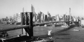 Unknown - Brooklyn Bridge with Manhattan skyline, 1930s