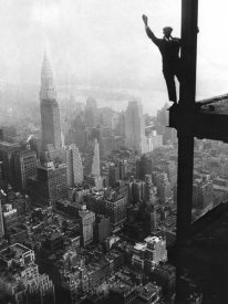 Unknown - Waving from Empire State Building Construction Site, 1930