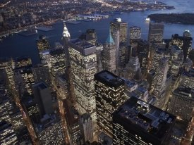 Cameron Davidson - Night aerial view of the Financial District, NYC