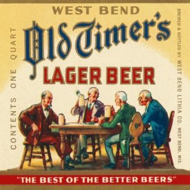 Vintage Booze Labels - West Bend Old Timer's Lager Beer
