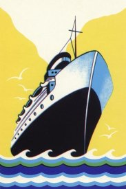 Retrotravel - Steamship Cruise liner Boom Label