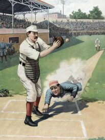 Vintage Sports - Baseball Play at the Plate
