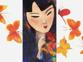 Linda Naiman - Asian Woman and Butterflies