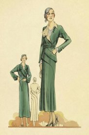 Vintage Fashion - Green Dress and Overcoat