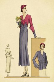 Vintage Fashion - Sunday Dress in Periwinkle and Magenta
