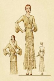 Vintage Fashion - Winter Dress and Overcoat in Yellow