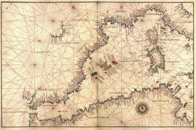 Battista Agnese - Portolan or Navigational Map of the Western Mediterranean from Gibraltar to Piedmont & Sardinia