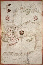 Joan Oliva - Portolan Map of Turkey, Mediterranean, Adriatic and the Agean
