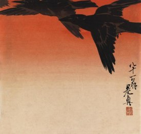 Shibata Zeshin - Crows Fly by Red Sky at Sunset from the Series Hana Kurabe, ca. 1880