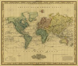 Henry S. Tanner - World on Mercators Projection, 1823 - Tea Stained