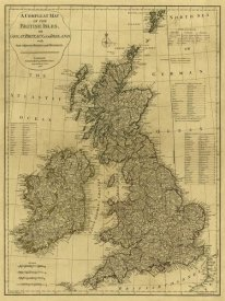 Thomas Kitchin - A complete map of the British Isles, 1788 - Tea Stained