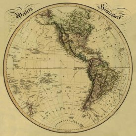 Daniel Lizars - Western Hemisphere, 1831 - Tea Stained