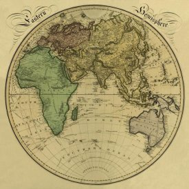 Daniel Lizars - Eastern Hemisphere, 1831 - Tea Stained