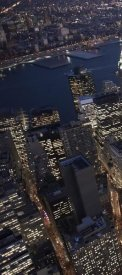 Cameron Davidson - Night aerial view of the Financial District, NYC (left)