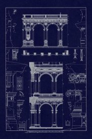 J. Buhlmann - Porch of the Cathedral of Spoleto and Arcade from Palazzo Farnese (Blueprint)