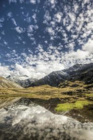 Colin Monteath - Mount Tyndall, reflection in tarn at Cascade Saddle, Mount Aspiring National Park, New Zealand