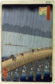 Hiroshige Ando - Sudden Shower Over Shin-Ohashi Bridge and Atake (Ohashi Atake no Yudachi), No. 58 from One Hundred Famous Views of Edo,1857