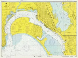 NOAA Historical Map and Chart Collection - Nautical Chart - San Diego Bay ca. 1974