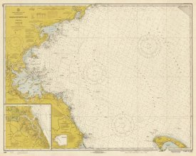 NOAA Historical Map and Chart Collection - Nautical Chart - Massachusetts Bay ca. 1970 - Sepia Tinted