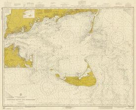 NOAA Historical Map and Chart Collection - Nautical Chart - Nantucket Sound and Approaches ca. 1973 - Sepia Tinted