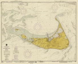 NOAA Historical Map and Chart Collection - Nautical Chart - Nantucket Island ca. 1975 - Sepia Tinted