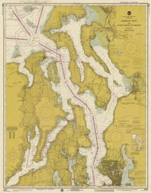 NOAA Historical Map and Chart Collection - Nautical Chart - Admiralty Inlet and Puget Sound to Seattle ca. 1975 - Sepia Tinted