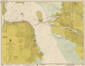 NOAA Historical Map and Chart Collection - Nautical Chart - San Francisco Bay ca. 1975 - Sepia Tinted