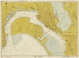 NOAA Historical Map and Chart Collection - Nautical Chart - San Diego Bay ca. 1974 - Sepia Tinted