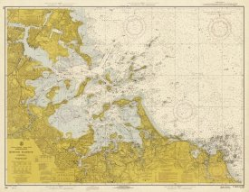 NOAA Historical Map and Chart Collection - Nautical Chart - Boston Harbor ca. 1970 - Sepia Tinted