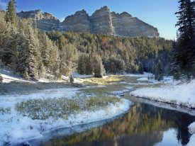 Tim Fitzharris - Snow lined river flowing below Breccia Cliffs, Wyoming