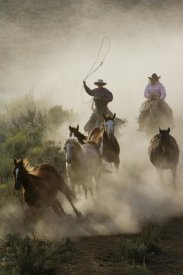 Konrad Wothe - Horses herded by cowboy and cowgirl, Oregon