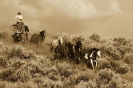 Konrad Wothe - Cowboys herding a Horse group through Sagebrush, Oregon - Sepia