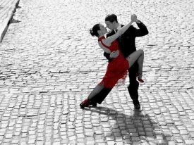 Anonymous - Couple dancing Tango on cobblestone road