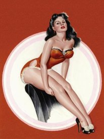 Peter Driben - Mid-Century Pin-Ups - Eyeful Magazine - Brunette in a Red Bathing suit