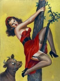 Peter Driben - Mid-Century Pin-Ups - Moo - Up a tree