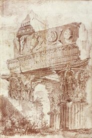 Marie-Joseph Peyre - Sketch of Roman architectural fragment, 1786