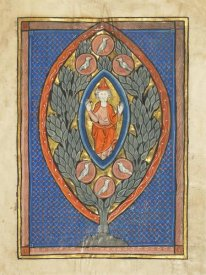 Franco-Flemish 13th Century - A Man Enthroned within a Mandorla in a Tree