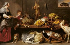 Frans Snyders - Kitchen Still Life with a Maid and Young Boy