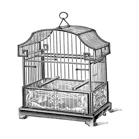 Catalog Illustration - Etchings: Birdcage - Gable top, floral base.