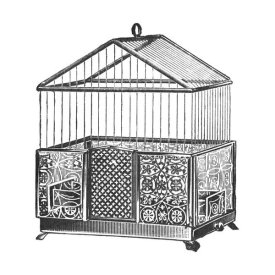 Catalog Illustration - Etchings: Birdcage - Peaked top, patterned base.