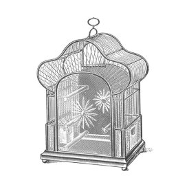 Catalog Illustration - Etchings: Birdcage - Palmate top, daisy detail.