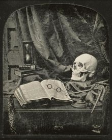Thomas Richard Williams - Still Life with Skull, Open Book with Glasses, and Hourglass