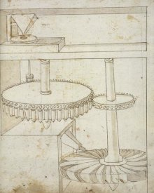 Francesco di Giorgio Martini - Folio 44: mill powered by horizontal wheel