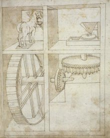 Francesco di Giorgio Martini - Folio 43: mill powered by horse