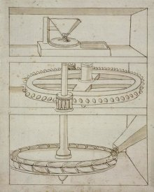 Francesco di Giorgio Martini - Folio 39: mill with horizontal water wheel