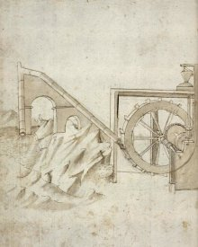 Francesco di Giorgio Martini - Folio 13: mill powered by water from siphon